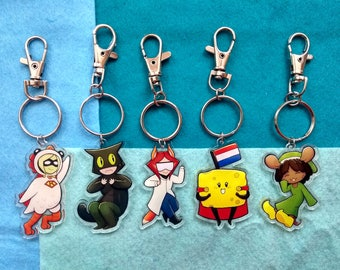 SuperKip Chibis - Funny Characters - Acrylic Charms Keychains - 5 designs