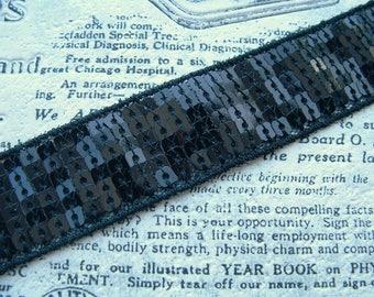 FANCY SEQUIN BRAID 1 M square black 24mm wide