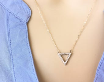 Silver Triangle w/ CZ Necklace, Sterling Silver, Geometric Necklace, Pave, Layering Necklace, Everyday, Delicate, Bridesmaid, Gift