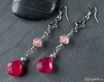 Reign Cross Pink Gemstone Drop Earrings // Long Dangle Earrings // Renaissance Earrings // Medieval Earrings // Boho Silver Earrings