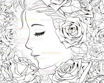 Rose printable coloring page, adult coloring pages, digistamp, fantasy art, big eyed art, digital stamps, whimsy art, face coloring page