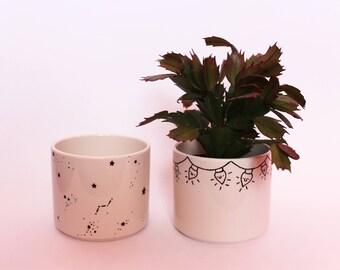 Minimalist Constellation Astrology Space Ceramic Pot // modern planter | makeup storage | makeup brush pot | makeup organiser | pencil pot