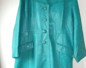 Green 1970s leather jacket superb cond sz 18/20 Nappa Leather