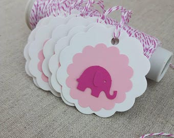 Pink Elephant Tags, Baby Shower Favors, Gift Tags, Baby Shower Gifting, Party Decor, Baby Girl Paper Embelishments, Elephant Paper Punches