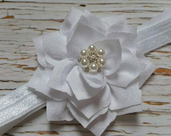 White Lotus Flower Headband, White Headband, Baptism Headband, White Pearl Bling Headband, Flower Girl Headband
