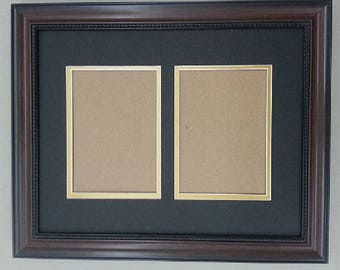 "11x14 1.25"" Walnut Beaded Solid Wood Frame with Black and Gold Mat Cut for 2 5x7 Pictures"
