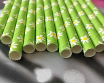 Set of 12 green straws with flowers