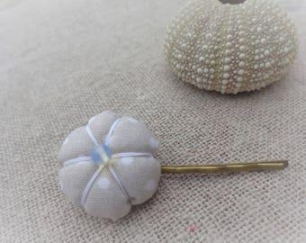 Flower Barrette Japanese polka dot white on beige 2.2 cm