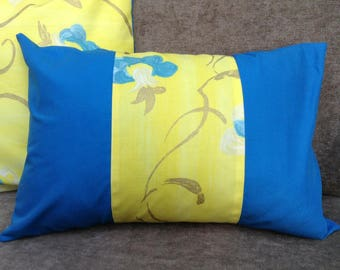 Rectangular Cushion cover 30 x 50, bright yellow, blue, electric and gold