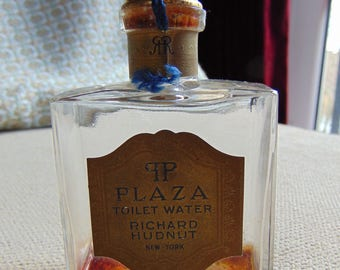 "VINTAGE c1920s-30s Richard Hudnut ""Plaza"" Toilet Water Art Deco Bottle Perfume"