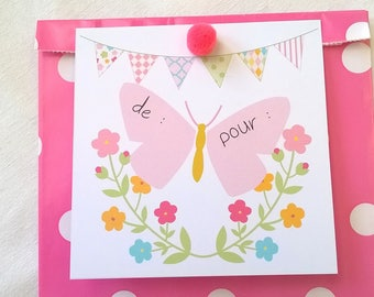 Gift bag pink with polka dots flowers Butterfly tag