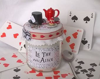 "Candle ""Tea with Alice"" theme playing cards and miniatures"