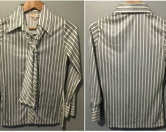 Vintage 1970s Exquisite Striped Blouse with Scarf - Size Small