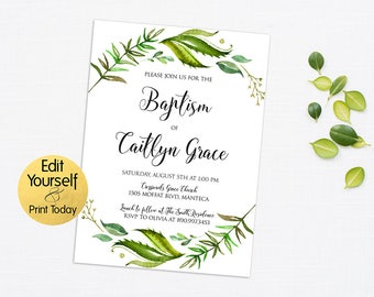 Baptism Invitation Template, Greenery Baptism Invitation, Greenery Invitation  Template, Editable Baptism Invite,