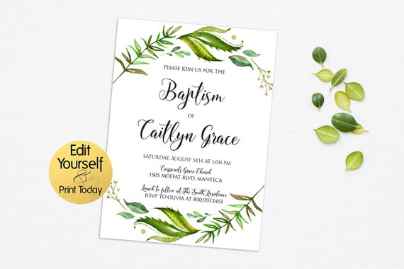 Baptism invitation template greenery baptism invitation baptism invitation template greenery baptism invitation greenery invitation template editable baptism invite greenery invitation leafy pronofoot35fo Gallery