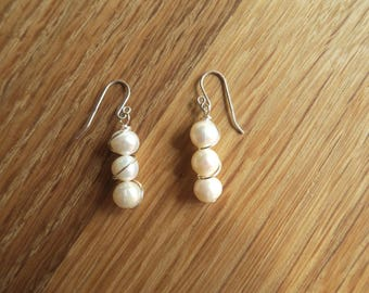 Handmade Fresh Water Pearl and Sterling Silver earrings