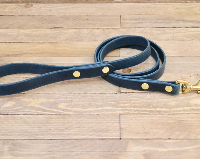 Leather leash, Dog leash, Leather dog leash, Pet gift, Classic leather leash, Leather lead, Lead, Solid brass hardware, Leash, Blue leash