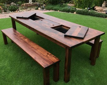 Outdoor Dining Table Set With Built In Ice Troughs