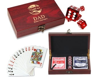 World's Best Dad Personalized Card and Dice Set - Game Set for Dad - Customized Card and Die Wooden Box Gift Set - Gambling Gaming Set
