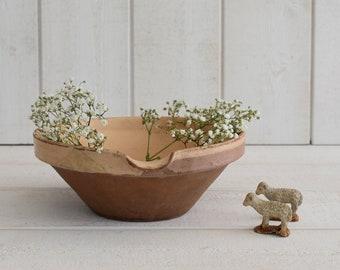 Antique French small Gresale tian Pottery confit pot  terra cotta