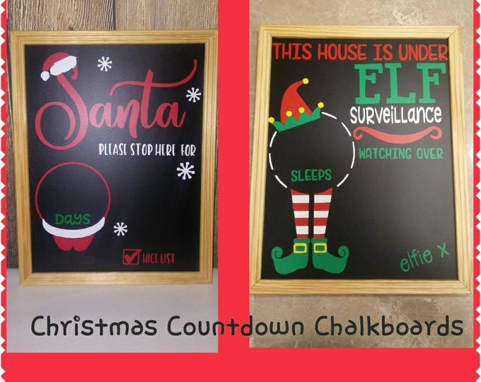 Countdown to Christmas Chalkboard sign, Santa, Elf Photo Prop, Decor, Child Chalkboard, days til christmas, red Chalk