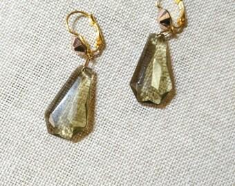 ZELDA Golden and grey earrings smoky quartz