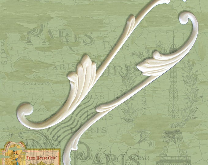 1 Matching Pair of Scrolls Shabby French Chic Furniture Mouldings, Crowns, Furniture Appliques, Furniture Carvings, Furniture Decorations