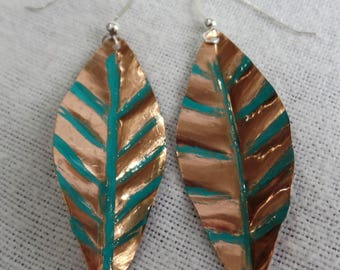 Copper Earrings Leaf Shape with Patina color Flattened Sterling Silver Ear Wires with Ball JER136SS