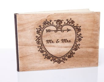 Wedding guest book.Wooden Wedding Guest Book . Size 11X8 inches.