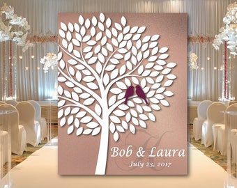 Rose Gold Wedding Guest book Alternative Tree with birds, Love birds guestbok, Wedding Signature Tree canvas or Poster, Wedding Tree to sign