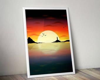 Minimal Sunset Landscape