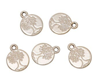 5 Rose Gold Tone Carved Tree of Life Charms 15mm x 12mm  (B231f)