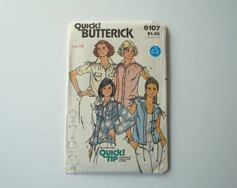Vintage Butterick 6107 Womens Blouse Paper Sewing Pattern Size 16