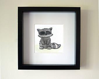 Handmade Raccoon Framed Watercolour
