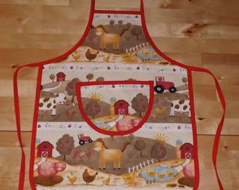 """Farm animals"" personalized kids apron"