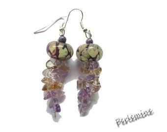 Purple ametrine and designer bead earrings. Silver plated hooks.