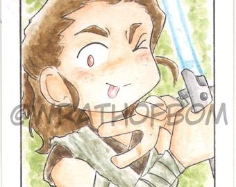 Star Wars: The Last Jedi Rey Fan Art Sketch Card