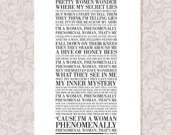 Phenomenal Woman by Maya Angelou (A3) print in 5 colours