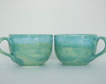 Jumbo Pottery Patina Mugs for 2