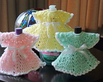Baby Room Decor Baby Dress Bottle Cover Crochet Dress Baby Oil Cover Hand Lotion Cover Dish Soap Cover Special Order Your Favorite Color