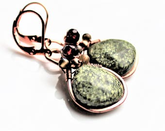 Russian Jade Copper Earrings