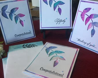 Handmade Card, Die Cut Card, Watercolor Card, Thank You Card, Birthday Card, Customizable Card,Congratulations Card, Wedding Card, Versatile