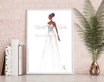 "Fashion Illustration, Print. ""Bridal."" Marker, Fashion Art. Digital Download"