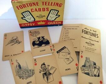 Vintage Fortune Telling Cards and Box Ephemera Scrapbook Assemblage