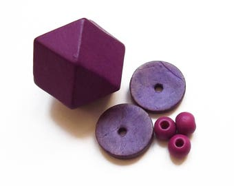 Polygon, donuts and round purple wooden beads mix 6
