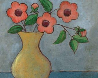 Yellow Vase Original Folk Art Canvas Painting