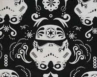 "Storm trooper sugar skulls on black fabric, By the Half Yard, 44"" wide, star wars fabric, cotton fabric, storm trooper fabric, sugar skulls"