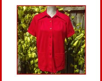 Summer Red Vintage 70's Blouse