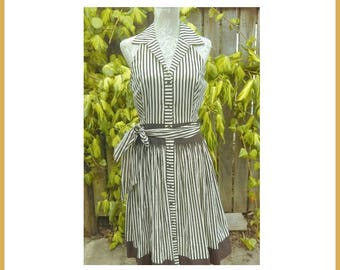 50's Style Brown Strips Summer Dress