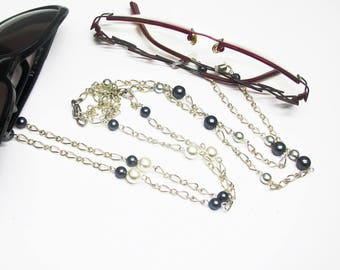 Double black and white beads glasses chain, chain for eyeglasses and sunglasses